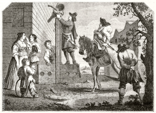 Ancient prisoner conducted to the pillory outddoor Canvas Print
