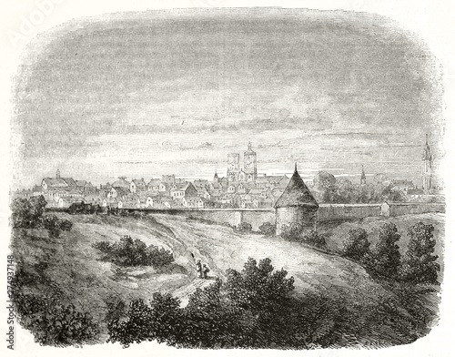 Old view of Langres far in the distance. In the foreground the nature and the path leading to the medieval city. France. By unidentified author publ. on Magasin Pittoresque Paris 1848 Langres