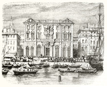 Old Front View Of Marseille City Hall France. Ancient Building Viewed From The Water Crowded With Boats And People. By Unidentified Author Publ. On Magasin Pittoresque Paris 1848