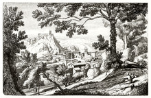 Ancient Medieval Mountain Town Inserted In A Natural Landscape With Woods On Foreground And Hills On Background. Old View Of Olevano Romano Italy. By D'Aligny Publ. On Magasin Pittoresque Paris 1848
