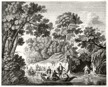 Old Illustration Depicting People On Boat Along A Small River In A Lush Nature Context In A Landscape Rich Of Forest Vegetation. After Pillement Publ. On Magasin Pittoresque Paris 1848