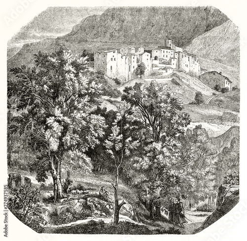 Foto auf AluDibond Dunkelgrau Ancient squared etching style illustration. Old view of Papigno, little stone medieval village on top of a hill surroundedby the nature, Italy. By Bellel publ. on Magasin Pittoresque Paris 1848