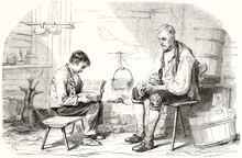 Ancient Boy Studying On A Book In Front Of A Old Man Both Seated On Their Stools In A Stable. Engraving Style Grayscale Illustration By Girardet Publ. On Magasin Pittoresque Paris 1848