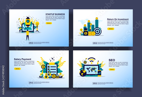 Fotografía  Set of modern flat design templates for Business, startup, return on investment, salary payment, seo