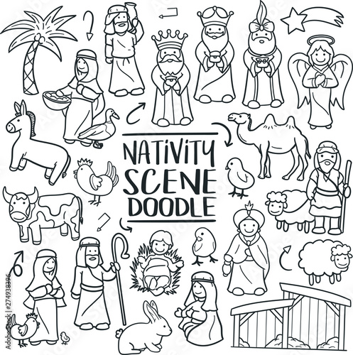 Fotomural  Nativity Scene Christmas  Traditional Doodle Icons Sketch Hand Made Design Vecto