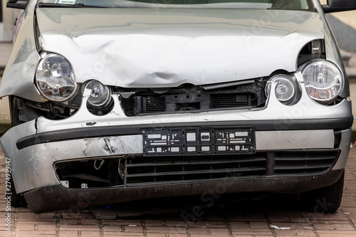 Poster Old cars Road safety: Destroyed frontal part of the car after road accident