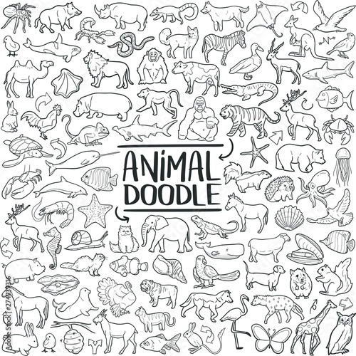 Photo  Animal Set Traditional Doodle Icons Sketch Hand Made Design Vector