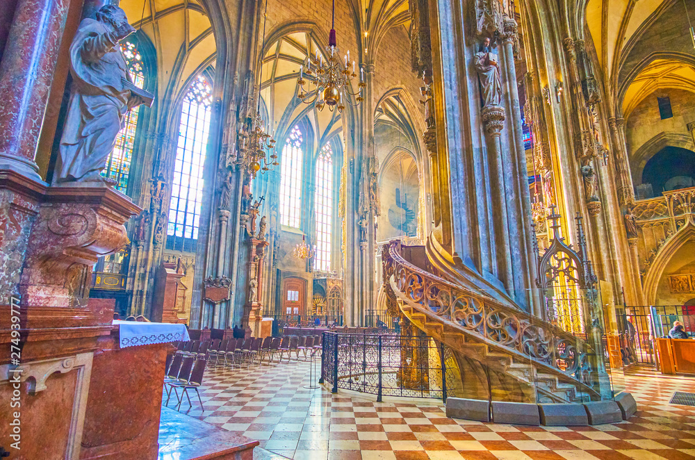 Fototapety, obrazy: The carved stone stairs to the pulpit in St Stephen's Cathedral, Vienna, Austria