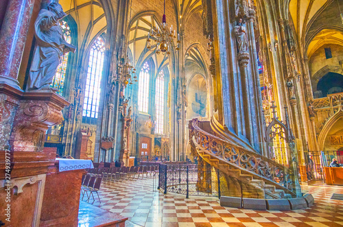 The carved stone stairs to the pulpit in St Stephen's Cathedral, Vienna, Austria Canvas Print