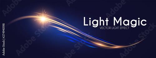 Photo  Motion Light Effect. Shining Wave. Glow Design Element.