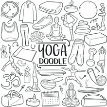 Yoga Practicing Traditional Doodle Icons Sketch Hand Made Design Vector