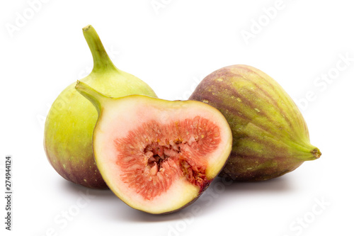 Fig fruits isolated on white background. Top view. Flat lay pattern