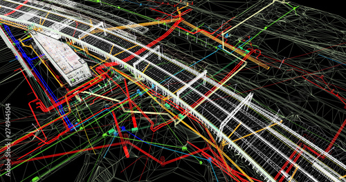 Fotomural The BIM model of the object of transport infrastructure of wireframe view