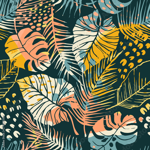 Tapety do jadalni  abstract-creative-seamless-pattern-with-tropical-plants-and-artistic-background