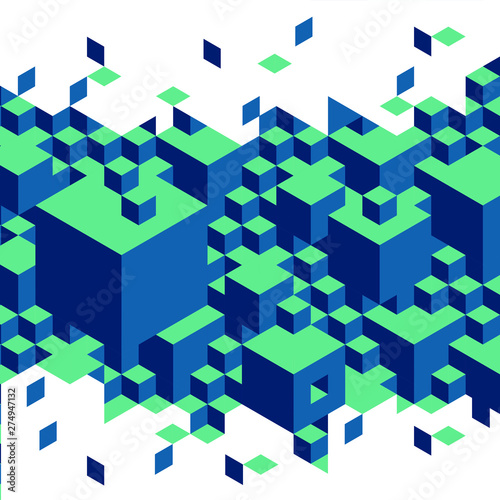 Cubes and block impossible puzzle Escher illustration Wallpaper Mural