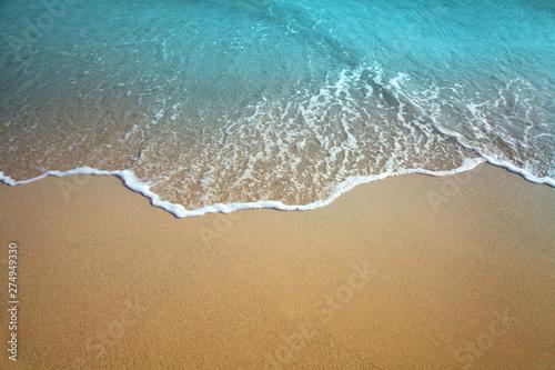 Keuken foto achterwand Strand Sand and sea wave. Beach nature background.