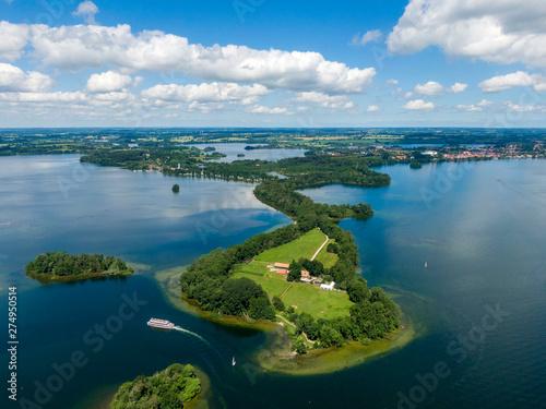Obraz na plátně Aerial view of Princes Island or Prinzeninsel near city of Ploen