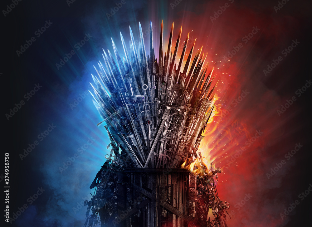 Fototapety, obrazy: Medieval iron throne of kings made of weapons: swords, daggers, spears, knives blades. Misterious low key middle ages fantasy background design element in fire and ice.  Dark knights game concept. 3D