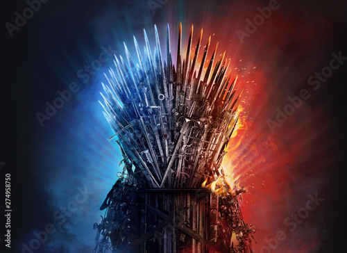 Foto  Medieval iron throne of kings made of weapons: swords, daggers, spears, knives blades