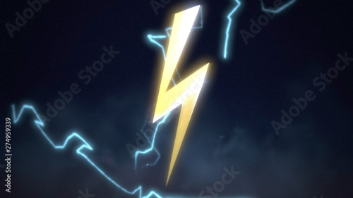Retro thunderbolt abstract background Tableau sur Toile
