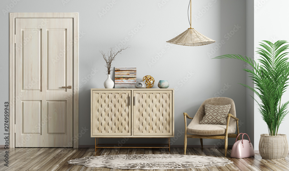 Fototapety, obrazy: Modern living room interior with door and armchair 3d rendering