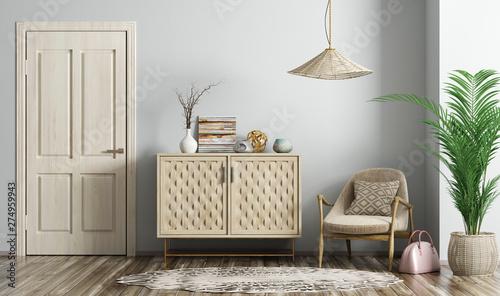 Fototapeta Modern living room interior with door and armchair 3d rendering obraz