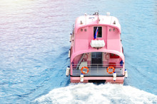 Pink Pleasure Boat On The River. Copy Space