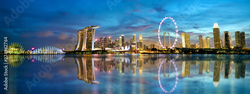 Singapore skyline and Marina Bay panorama at dusk