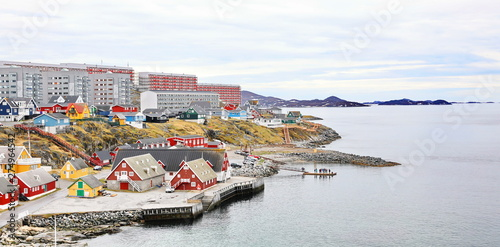 Garden Poster Northern Europe Old colonial harbor, colorful Nuuk city, capital of Greenland