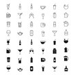 Drinks silhouettes and outline icons set