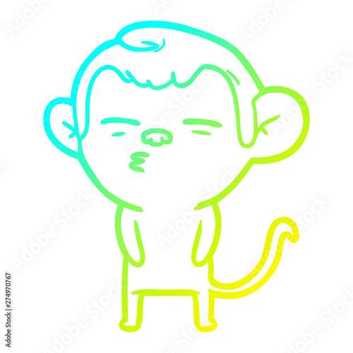 Photo cold gradient line drawing cartoon suspicious monkey