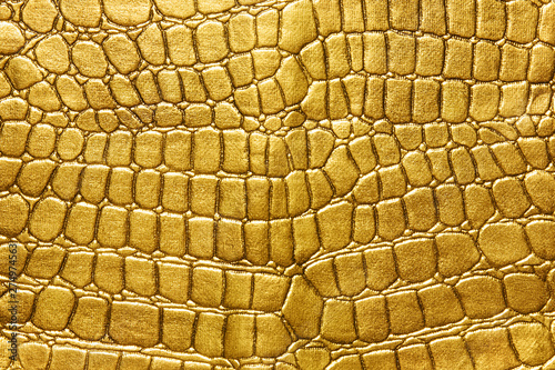 Poster Krokodil Gold background. background of gold lizard armor pattern. Crocodile yellow or golden skin. For luxury items