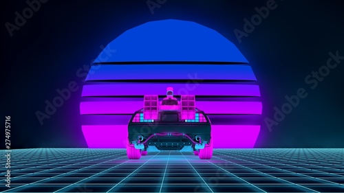3d Illustration In Retro Synthwave Style Futuristic Car On