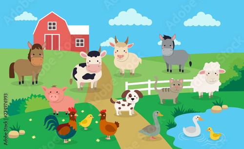 Fotografia Farm animals with landscape - vector illustration in cartoon style, children s b