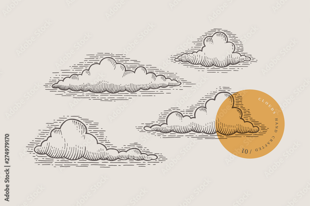 Fototapeta Set of graphically hand drawn clouds on light background. Clouds of various shapes in retro engraving style. Vector vintage illustration.