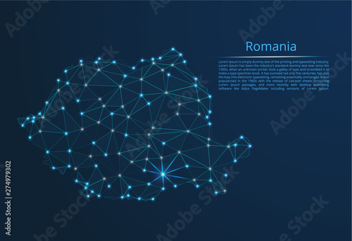 Obraz na plátně Romania communication network map