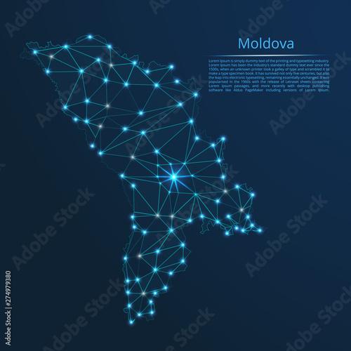 Moldova communication network map Tablou Canvas