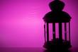 Leinwanddruck Bild - Christmas lamp on a purple background