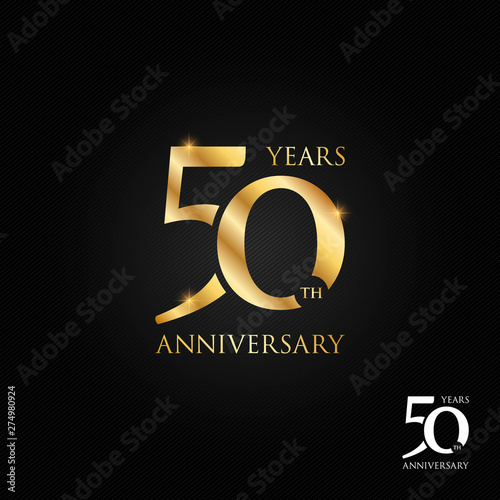 Photo  50 years anniversary logo, icon and symbol vector illustration