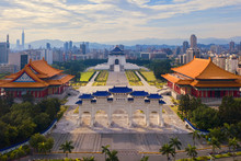 Aerial View Of National Chiang Kai Shek Memorial Hall In Taipei Downtown, Taiwan. Financial District And Business Centers In Smart Urban City. Skyscraper And High-rise Buildings At Sunset.