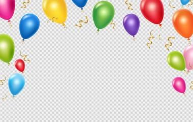 Predložak pozadine vektora proslave. Realističan dizajn natpisa balona i vrpci. Ilustracija rođendanskog balona realan, svečani poster za proslavu