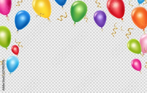 Obraz Celebration vector background template. Realistic balloons and ribbons banner design. Illustration of birthday balloon realistic, festive celebrate poster - fototapety do salonu