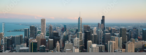 Fotomural  Chicago skyline. An overhead view of the great city of Chicago