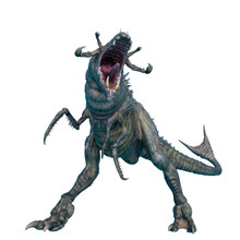 Alien Animal On Dominate Pose In A White Background
