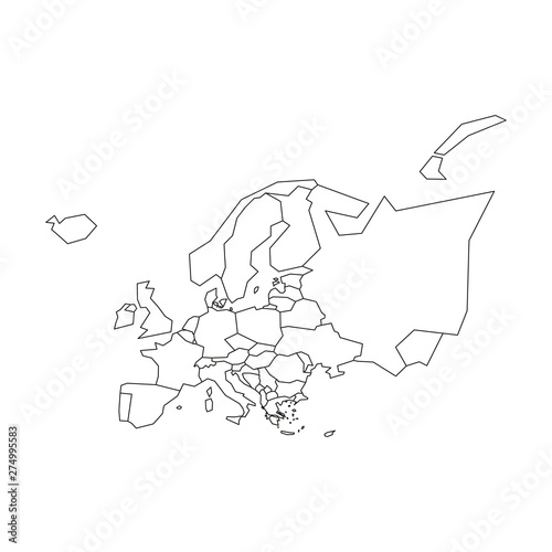Political map of Europe. Simplified black wireframe outline ...
