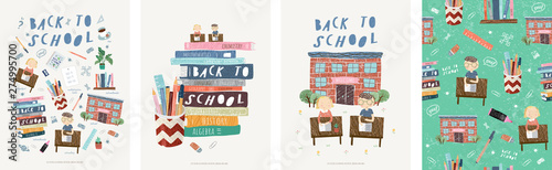 fototapeta na lodówkę Back to school! Cute vector illustrations for a poster, banner or card with objects: school, schoolchildren at their desks, stationery, books, children, pen, ruler, marker, eraser and seamless pattern