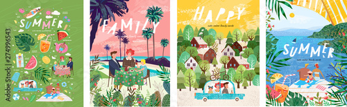 Fototapeta Summer family holidays and weekends! Set of vector illustrations, drawings of mother, father and child on vacation at the resort, eating at a table for lunch or dinner and traveling by car on a trip obraz