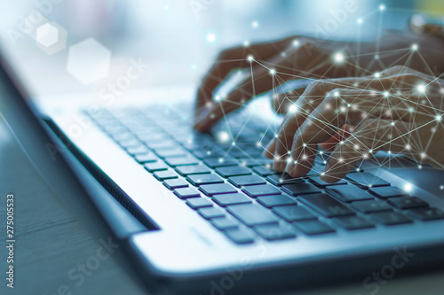 Obraz Woman working at home office hand on keyboard at the office - fototapety do salonu