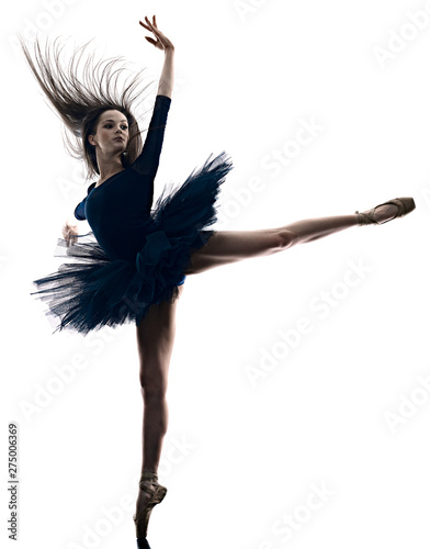 Tableau sur Toile one young beautiful long hair caucasian woman ballerina ballet dancer dancing st