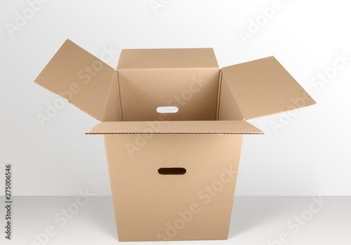 Canvas Prints Countryside Big brown cardboard box on wooden background